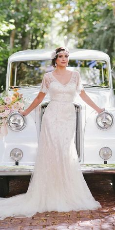 39 Vintage Inspired Wedding Dresses ❤️ vintage inspired wedding dresses sheath with cap sleeves jeweled rebekah westover photography dresses lace curvy bride 39 Vintage Inspired Wedding Dresses Boho Wedding Dress With Sleeves, Vintage Inspired Wedding Dresses, Rustic Wedding Dresses, Wedding Dresses Plus Size, Best Wedding Dresses, Bridal Dresses, Vintage Dresses, Wedding Ideas, Trendy Wedding