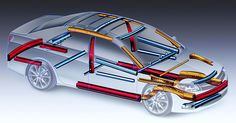 Technical illustration by Jim Hatch // sedan for Kaiser Aluminum illustrating aluminum components that use to be steel