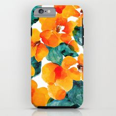 orange floral iPhone & iPod Case