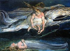 "Pity by William Blake, 1795, Tate Britain, is an illustration of two similes in Macbeth: ""And pity, like a naked new-born babe, Striding the blast, or heaven's cherubim, hors'd Upon the sightless couriers of the air."""