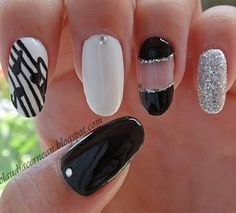 Music Notes Nails in black, white and silver. #nailart #polish #manicure - See more nail looks at bellashoot.com & share your faves!