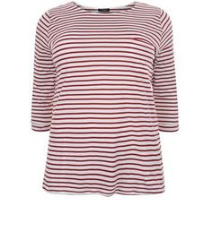 "Curves. Bring classic stripes into your everyday look with this red stripe 3/4 sleeve top. Team with skinny jeans and plimsolls for an effortless finish.- All over stripe print- Single pocket front- Rounded neckline- 3/4 sleeves- Casual fit that is true to size- Soft cotton fabric- Model is 5'9""/180cm and wears UK 18/EU 46/US 14 Created for women of size 18 to 28/EU 46 to 56**Selected styles are available up to size 32/ EU 60"