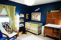 I love this color combo, but I feel that navy is too dark for the walls. Maybe have light green walls, and navy curtains.
