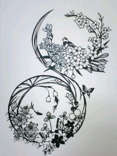 Tattoo idea: bird, Floral, Circle, placement on hand? Paper Cutting Patterns, Paper Cutting Templates, Kirigami, Cut Out Art, Paper Pot, Circle Tattoos, Silhouette Clip Art, Paper Magic, Paper Lace
