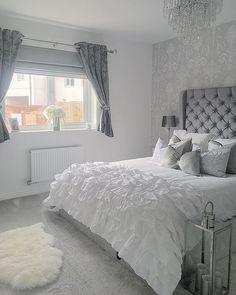 Furniture Donation Pick Up Denver Glitter Bedroom, Silver Bedroom, Grey Bedroom Decor, Room Ideas Bedroom, Small Grey Bedroom, Aesthetic Bedroom, Luxurious Bedrooms, House Rooms, Room Inspiration