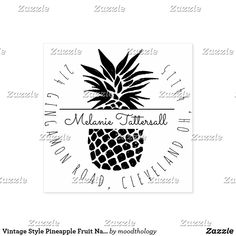 Vintage Style Pineapple Fruit Name Return Address Rubber Stamp Fruit Names, Vintage Style, Vintage Fashion, Pineapple Fruit, Wood Stamp, Return Address Labels, Ink Pads, Ink Color, Wooden Handles