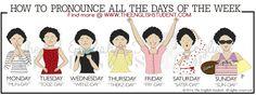The English Student, www.theenglishstudent.com, the english students, pronouncing days of the week, ESL pronunciations, ESL teaching ideas, ESL teaching ideas, days of the week spelling, ESL blog, learn English, best educational blog,