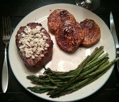 Grilled Blue Filet with Sweet Potatoes and Asparagus Recipe