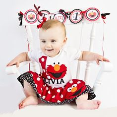 Boutique... ELMO... PERSONALIZED..Birthday outfit... Sesame street inspired... red polka dots fabric on Etsy, $55.00