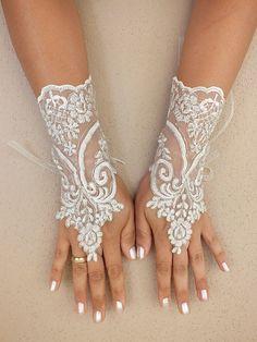 Ivory Wedding Gloves Bridal Lace By Weddinghome 30 00