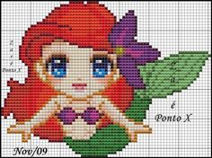 Disney's Little Mermaid cross stitch pattern.