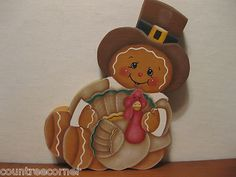 HP Gingerbread Thanks-Giving turkey shelf sitter hand painted