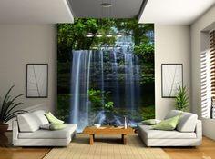 Vattenfall skog Fototapet