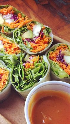 "Afternoon Snack ""Bikini Rolls"" - Avocado, carrots, cucumber, cabbage and peanut sauce."