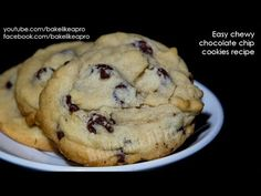 EASY Chewy Chocolate Chip Cookies Recipe   BakeLikeAPro – Your Recipe Source ! Chewy Chocolate Chip Cookies, Chocolate Desserts, Chocolate Chips, Chip Cookie Recipe, Cookie Recipes, Baking Basics, Best Food Ever, Yummy Food, Yummy Recipes