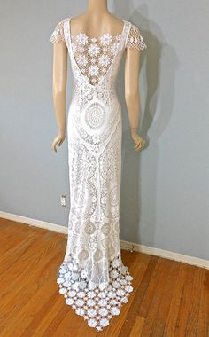 White Lace Wedding DRESS BoHo Crochet Hippie by MuseClothing