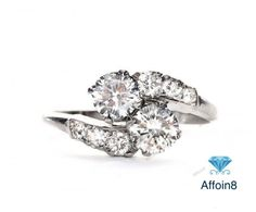 1.84 CT Round Cut D/VVS1 Diamond 925 Silver Two Stone Women's Engagement Ring 5…