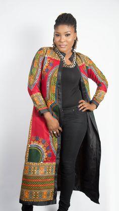 Red Daashiki Long Top, Daashiki Overall, African dresses for wedding, African dresses for prom, African dresses African Wear, African Attire, African Fashion Dresses, African Women, African Dress, Fashion Outfits, African Outfits, Fashion Styles, African Tops