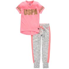 US Polo Association Girls' Logo Jogger Set (8). Includes short-sleeve tunic top and elastic-waist jog pants. ''USPA'' sequin detail on front of top. Top: 100% cotton; Pants: 60% cotton, 40% polyester. Machine wash.