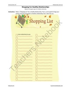 """Shopping"" for a Healthy Relationship from iSkewl on TeachersNotebook.com -  (6 pages)  - Students learn signs of a healthy relationship with interactive group learning."