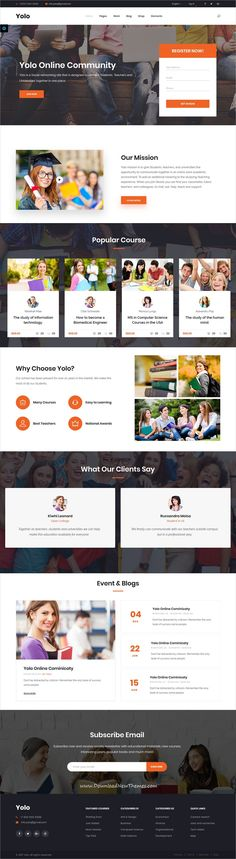 Yolo is clean and modern design responsive multipurpose bootstrap HTML5 template for online #course and #education website with 30+ niche homepage layouts to live preview & download click on Visit #edtech #webdev