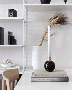 This beautiful black marble Hauri candleholder from moved into our living room - The piece can be used as two pieces or as a sphere (see my stories) and is lovingly handcrafted from Mexican marble and inlaid with brass. Contemporary Decor, Modern Decor, Home And Living, Living Room, Workspace Inspiration, Life Inspiration, Black And White Theme, World Of Interiors, Transitional Decor