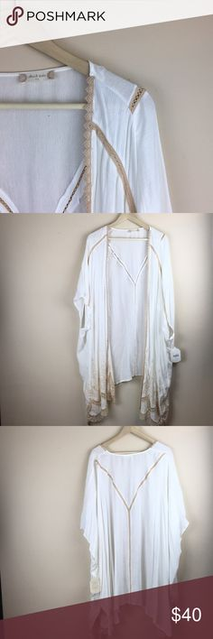 Altar'd State NWT embroidered lace kimono $90 new Size m/l. However I'm a size xl/xxl and this kimono cardigan fits me. Perfect for festivals, parties, spring, and summer! ||length: 38, sleeve: 17, Bust: 33. Also in navy blue in my closet! Altar'd State Tops Blouses