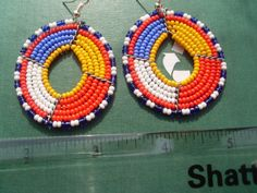 Hand Made African Masai Beads Earrings 14153 by nariv on Etsy