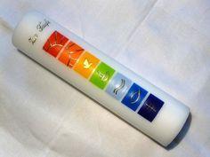 Taufkerze: Regenbogen-gerade/welle 7 Symb, all in