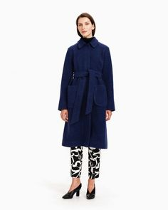 The unlined Kara coat is made of a boiled wool blend in dark blue. The coat has large patch pockets and in the front concealed snap button closure and a detachable belt. Normal Body, Dark Blue Color, Marimekko, Long Toes, Body Measurements, Body Shapes, Kara, Wool Blend, Duster Coat