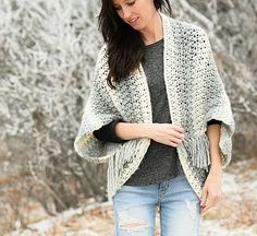 If you can't already tell, I have a thing for these blanket sweaters! This new Light Frost Blanket Sweater pattern uses a simple crochet stitch combination that almost looks knit. It's the first time