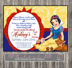 Snow White Invitation for Birthday Party or por FromTheHartDesign