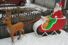Vintage Christmas Blow Mold ~ Santa & Sleigh by Union Products