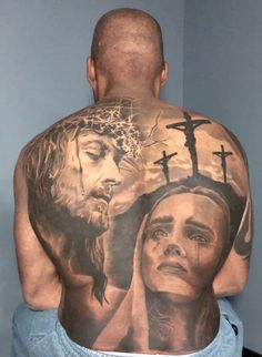 Christian themed tattoo, full back, Jesus, Mary on dark skin. Travis Chick of Dallas Tattoo did the work on my back. He is a beast at using the negative space to create a visible masterpiece. Catholic Tattoos, Religious Tattoos, Christ Tattoo, Jesus Tattoo, Back Tattoos For Guys, Full Back Tattoos, Forarm Tattoos, Body Tattoos, Sexy Cat Costume