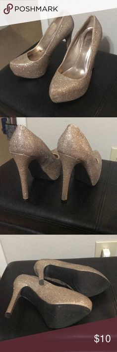 Sparkling Gold high heels Worn to a ball once and haven't needed it since. Great for functions. Charlotte Russe Shoes Heels