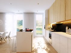 white modern open kitchen with wood cabinetry