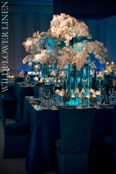 Blue wedding table linens Wedding Flower Arrangements, Flower Centerpieces, Wedding Centerpieces, Wedding Table, Floral Arrangements, Wedding Reception, Wedding Flowers, Decor Wedding, Purple Centerpiece