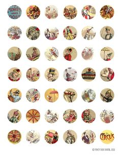 Vintage Circus Clipart - Printable Download Digital Collage Sheet 1 x 1 Inch Round Circles