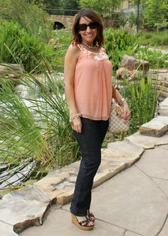 MM Couture peachy pink top and Lucky Denim|Pretty In Her Pearls