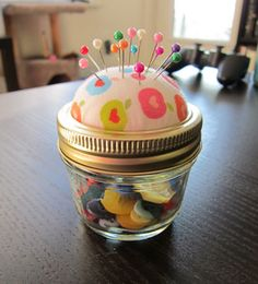 Still have my pin cushion made out of a mason jar lid from a 1984 Mother/Daughter banquet!