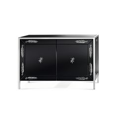 Two doors sideboard in bevelled and black lacquered glass with shiny silvered handmade engravings. Structure in tubular stainless steel. Design Leo De Carlo.