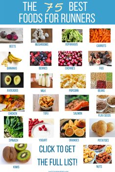 The most comprehensive list of the absolute BEST foods to add to your runner's diet! Whether you're a new of seasoned this list will give you inspiration to try new foods! Diet and Nutrition 75 BEST Foods For Runners Runners Diet Plan, Runner Diet, Nutrition For Runners, Nutrition Plans, Health And Nutrition, Sports Nutrition, Quinoa Nutrition, Nutrition Club, Proper Nutrition