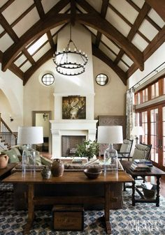 We love the ceiling beams and chandelier!