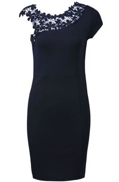 Black Sleeveless Contrast Lace Shoulder Dress pictures