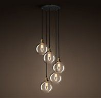20th C. Factory Filament Café Glass Round Pendant 5 40w max...there are different shade styles available too (ie opaque)