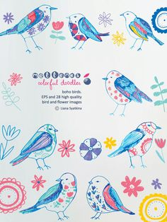hand drawn boho birds. Vector EPS and 28 high quality PNG clipart /clip art / scrapbook doodle images for commercial and personal use by mellenes on Etsy https://www.etsy.com/listing/203445586/hand-drawn-boho-birds-vector-eps-and-28