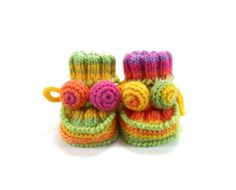 Hand Knitted Baby Booties  Spring Colors 0  6 by SasasHandcrafts, $19.00