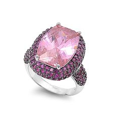 925 Sterling Silver CZ Pink Embraced Rectangular Center Pink Ring 16MM