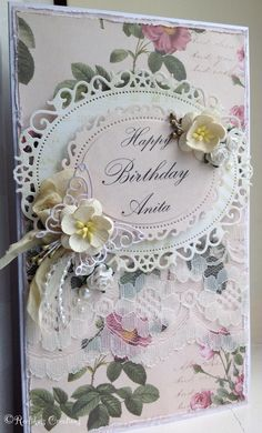 Handmade card...l used Spellbinders Floral oval dies/lace/ribbon/ivory half pearls/floral paper/mulberry flowers/butterfly die...