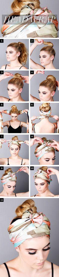 Hair How-To: Tie a Head Scarf - #scarf #headscarf #hairaccessory #hairstyle #hair #hairtip #marieclaire